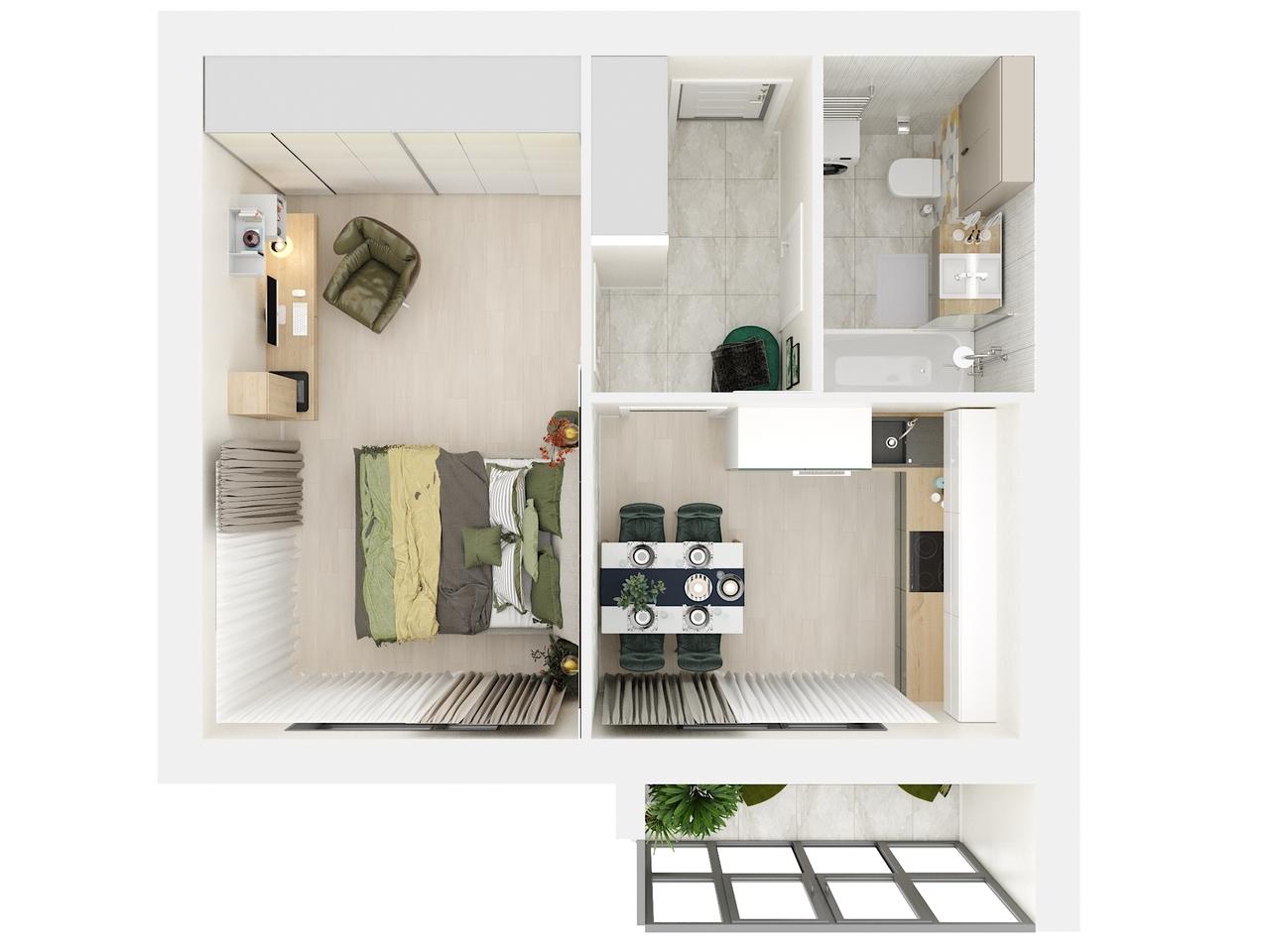 Дом 1 - 1-комнатная квартира №2