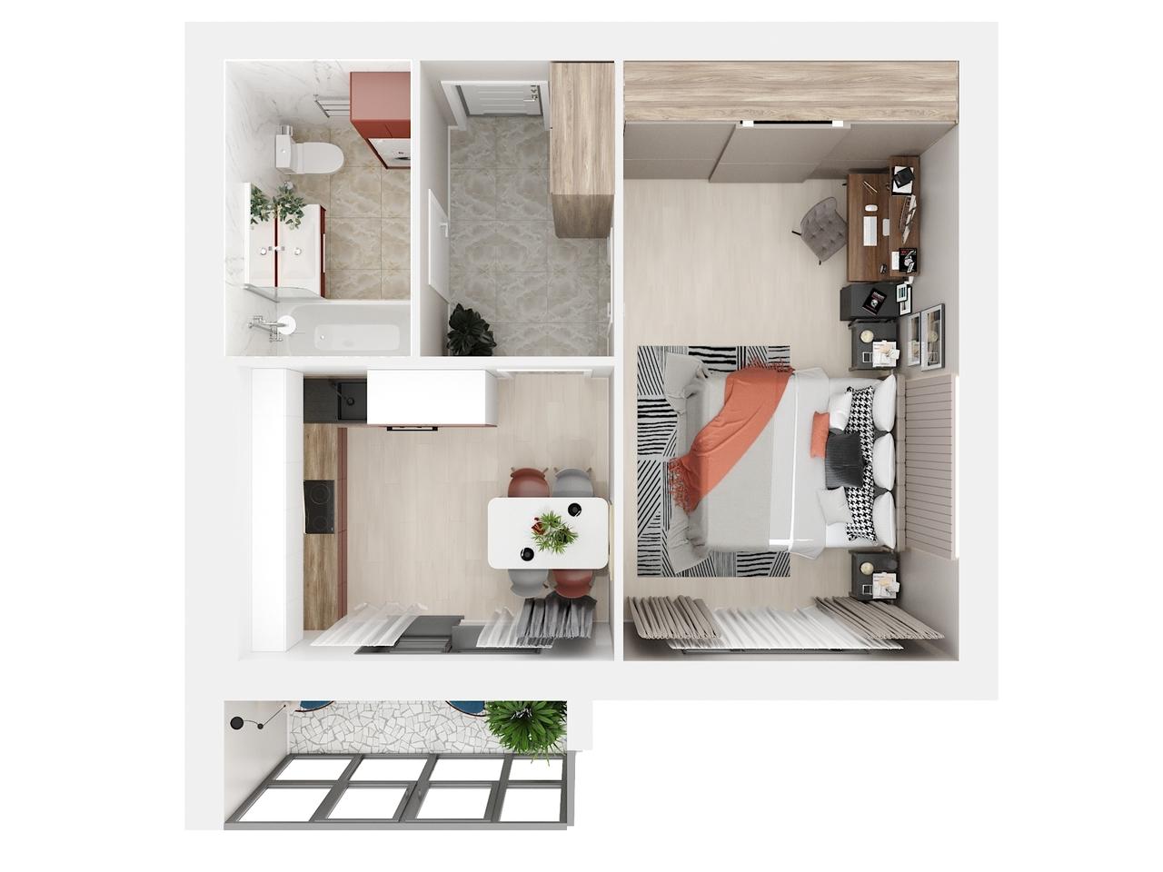 Дом 1 - 1-комнатная №59