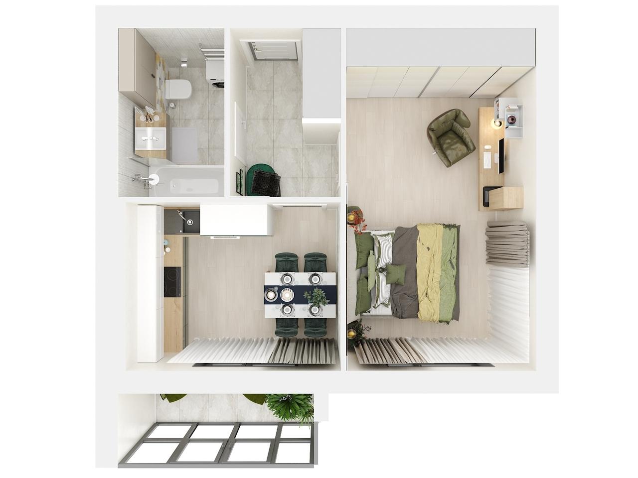 Дом 2 - 1-комнатная №1