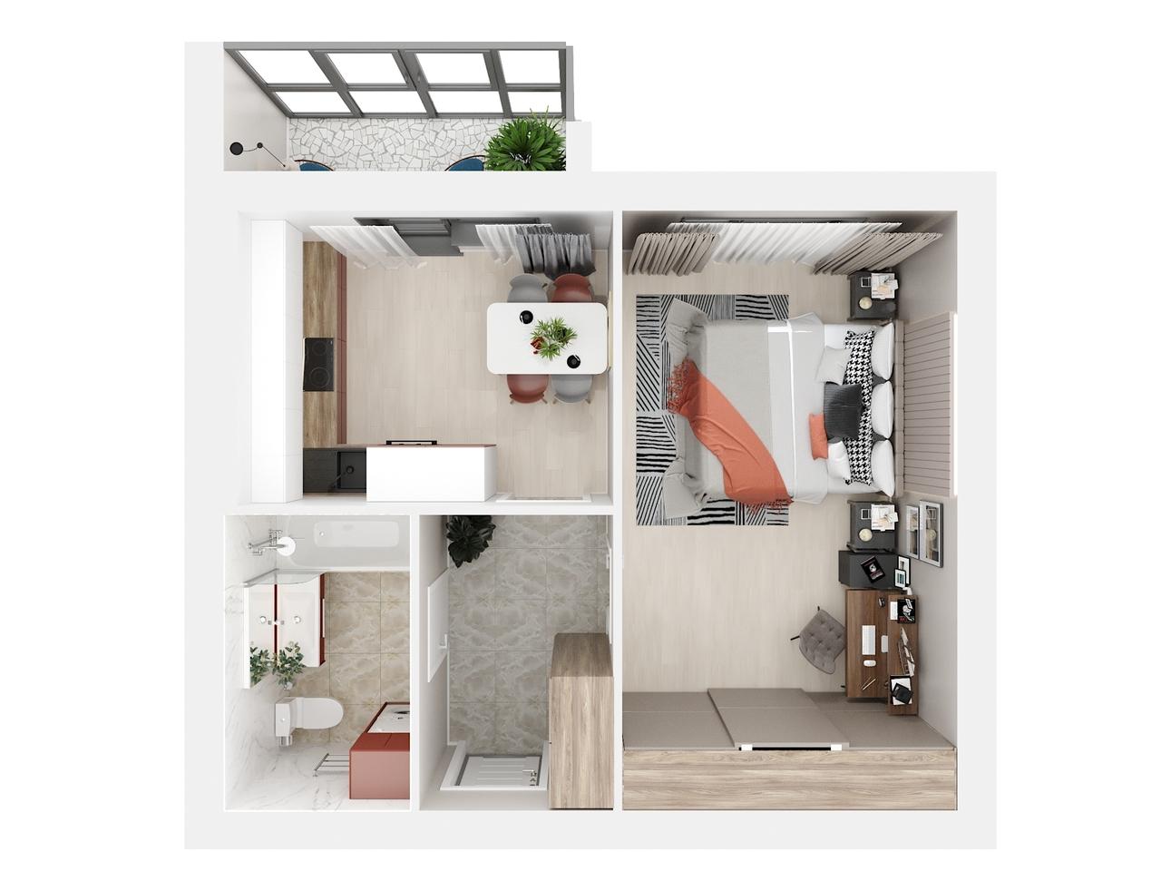 Дом 2 - 1-комнатная №76