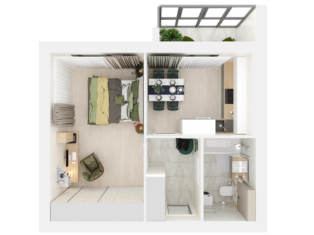 Дом 3 - 1-комнатная квартира №3