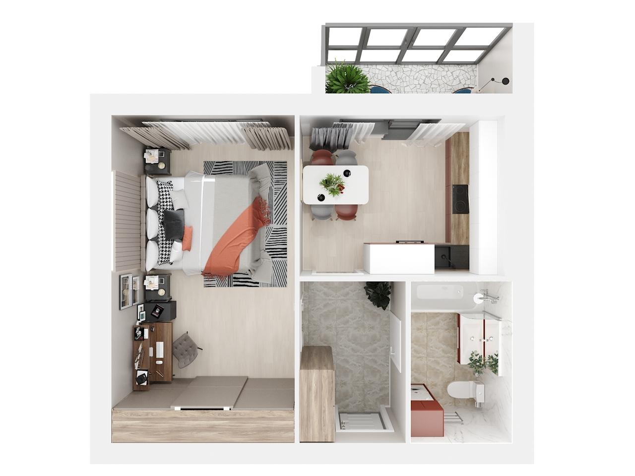 Дом 3 - 1-комнатная №21