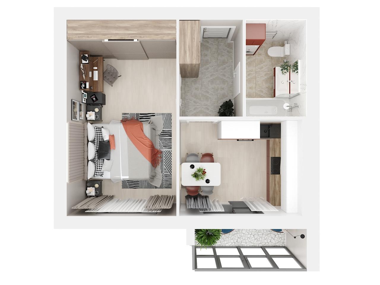 Дом 3 - 1-комнатная квартира №26