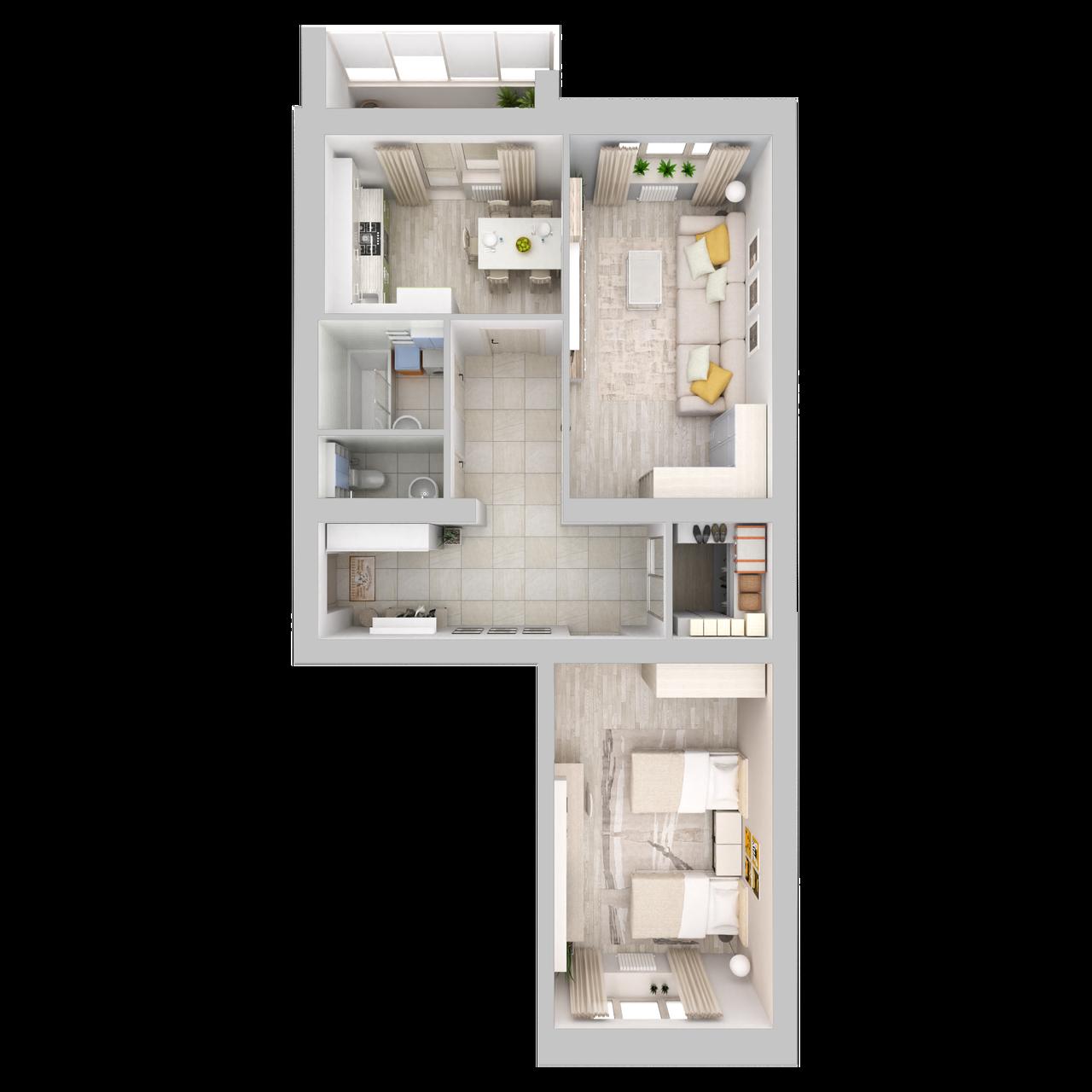 Дом 5 - 2-комнатная №84