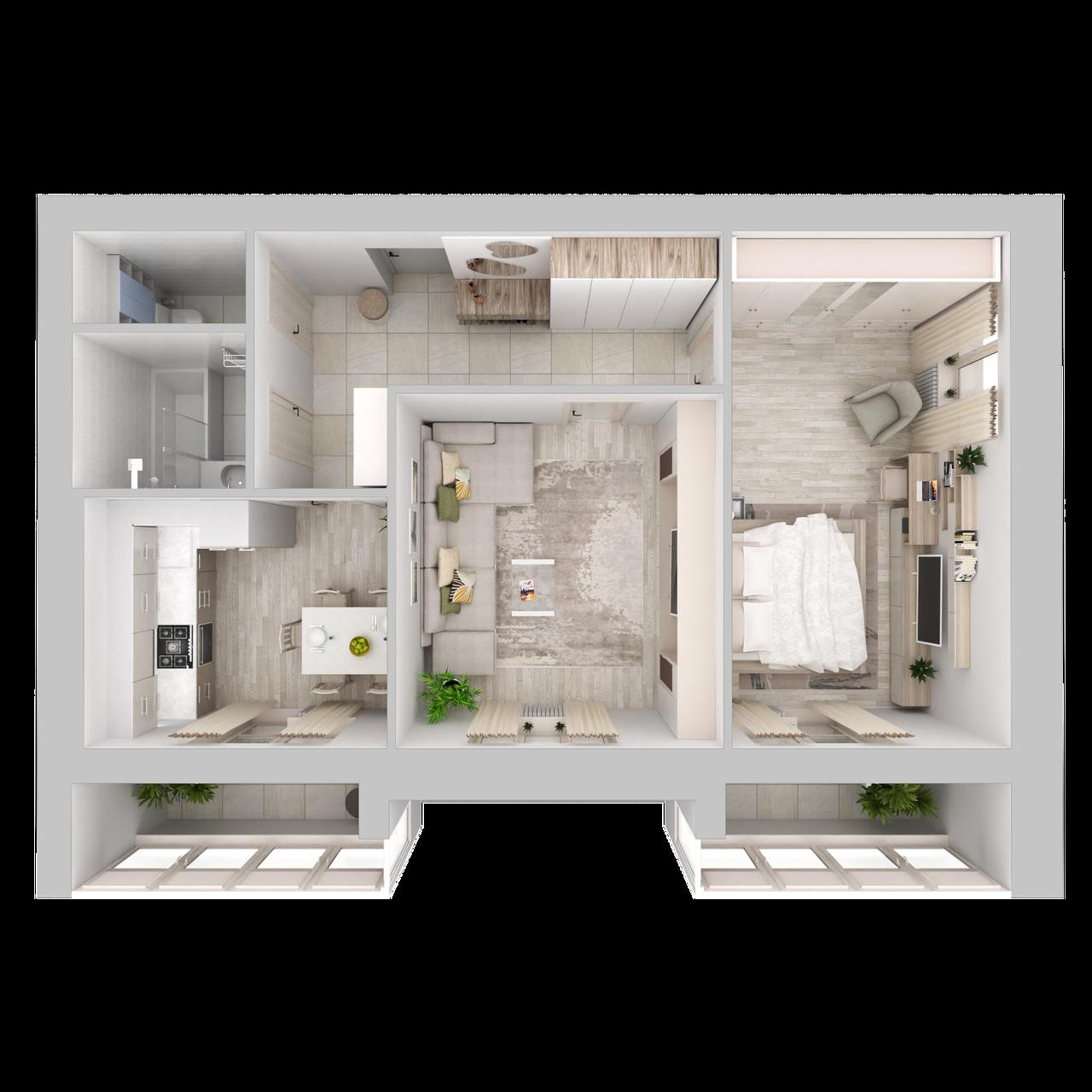 Дом 5 - 2-комнатная №48